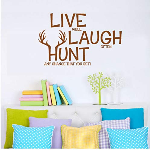 Ljtao Live Laugh Hunt Deer Humor Wände Zitate Pvc Art Home Wandaufkleber Zimmer Wand Decor61X38Cm