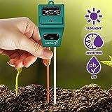 Soil Tester, Fosmon (3-in-1) pH Meter, Soil Moisture Sensor, Light, & pH Level