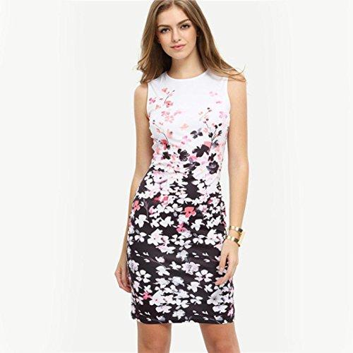 robe femme, Transer ® Mode femme robe à fleurs sans manches col rond robe courte Blanc