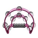 Flexzion – Tambourin demi-lune à double rangée de cymbalettes en métal avec poignée ergonomique rose