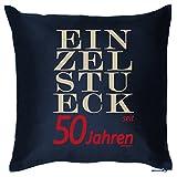 Kissen mit schönem Geburtstagsmotiv - Einzelstück seit 50 Jahren - Geschenk zum 50. Geburtstag - navyblau