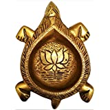 Purpledip Brass Tortoise Diya: Holy Oil Lamp Deepam; Feng Shui Vastu Good Luck Light (11570)
