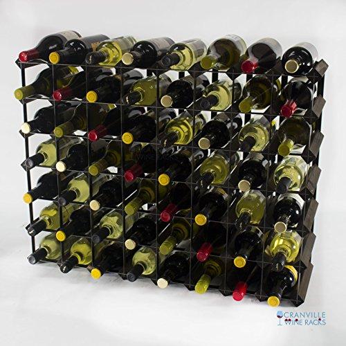 Klassische 56 Flasche Eiche dunkel gebeiztem Holz und schwarzem Metall Weinregal fertig montiert (Modular Bar Wine)