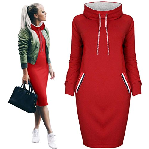Kleid damen Kolylong® Frau Herbst Winter Locker Pullover kleid mit kapuze Elegant Langarm Minikleid Party kleid Warm Sweatshirt langes Sportkleid Pakethüfte kleid (XL, (Frau Kostüme Schlanke)
