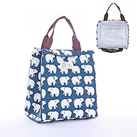 Upper-Lunch bag, lunch bag, square portable bag, lady's canvas, fresh and simple, small lunch box bag, thick school children's lunch box, lunch bag, lunch bag,Polar bear (with liner)