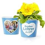 Bester Lehrer der Welt Geschenk - Blumentopf (ø16cm) für Grundschullehrer zum Abschied, Geburtstagsgeschenk oder Weihnachtsgeschenke mit Bilderrahmen für zwei Fotos (10x15cm)