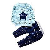 Neugeborenes Säugling Baby Jungen Star Drucken Tops + Hosen Outfits Hirolan Baggyjeans Pullover & Strickjacken Sweatshirts hosen Babykleidung Krabbelhosen (Blau, 80)