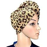1 x Haarpunzel Turbante Paño de secado de cabello Toalla Pañuelo de cabeza - Leopard
