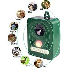 Workingda Repellente per animali ad ultrasuoni solare, repellente per deterrente selvaggio e antiparassitario, attivabile con movimento, luci a LED ultrasoniche e lampeggianti Repellente impermeabile esterna per cani, gatti, volpi, topi, uccelli, moffette, scoiattolo