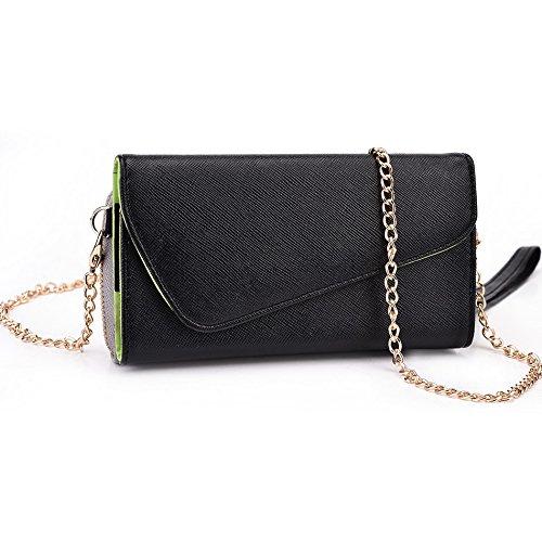 Kroo d'embrayage portefeuille avec Wristlet et bandoulière pour Samsung Galaxy Note 3Neo Green and Pink noir/gris