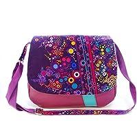 0aeeefe31a sac besace femme violet bulles multicolores, sac bandouliere en simili cuir  et tissu effervescence,