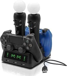 Tihokile Chargeur PS4 Manette, Double USB Load Station avec Indicateur LED, Load Intelligente Rapide, Contrôleur de Load sans fil Adapté à Play Station PS4 / VR / Pro / Slim (Noir)