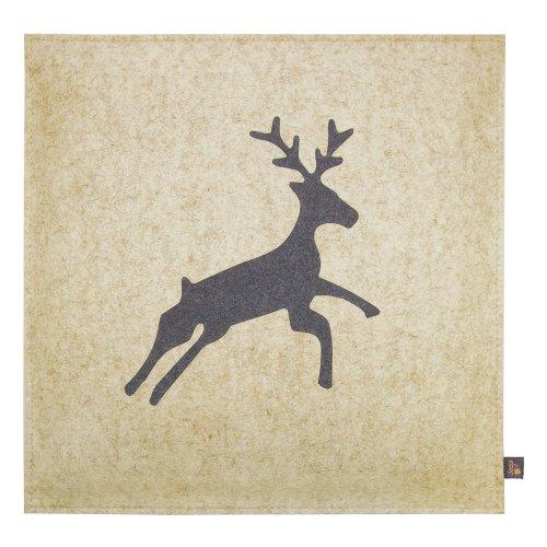 Coussin de siège ebos, 40 x 40 cm ✓ 100 % feutre de laine ✓ Mince et confortable | Coussin de chaise de haute qualité, coussin d'assise avec rembourrage | Joli coussin de chaise, coussin de feutre, coussin décoratif | Coussin d'extérieur robuste, coussin de chaise (beige avec le cerf gris)