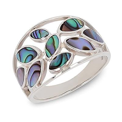 Cadeau bijoux-Bague-Nacre abalone-Motif Fleurs-Argent massif-Femme