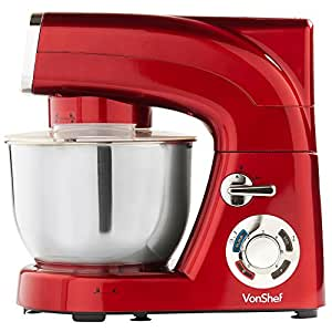 VonShef Stand Mixer 5.5 Litre in Red, Powerful, Silicone Beater, Balloon Whisk, Dough Hook, Dust Cover & Splash Guard