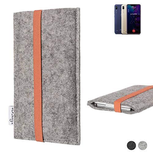 flat.design Handy Hülle Coimbra für Allview Soul X5 Style - Schutz Case Tasche Filz Made in Germany hellgrau orange