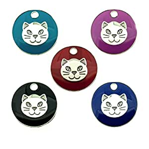 Personalised Engraved 20mm Enamel Pet ID Tag Cat Face Design