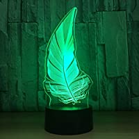 Wuqingren Feather 3D USB LED Night Light Battery Power 7 Colors Change Illusion Lamp Touch Remote Control Kids Bedroom Lamp,Touch Switch