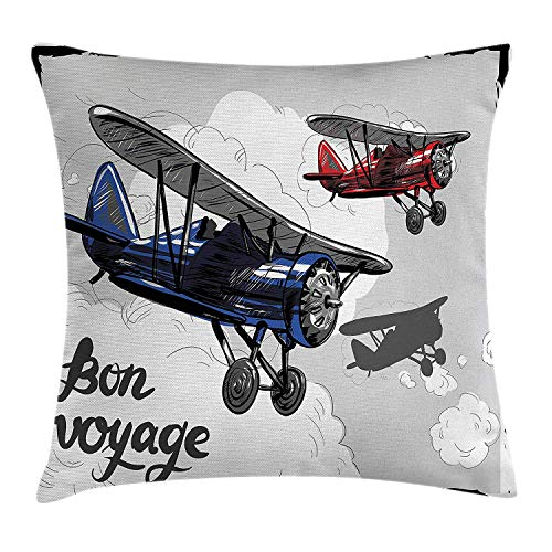 Trsdshorts Going Away Party Throw Pillow Cushion Cover, Retro Airplane Poster Inspired Bon Voyage Lets Travel Fly Vintage Print, Decorative Square Accent Pillow Case, 40 X 40 Inches, Blue Red Grey