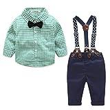Ropa Bebé niño, Amlaiworld Bebé niño rejilla de impresión Tops + pantalones ropa conjuntos 0-24 Mes (Tamaño:0-6Mes, Verde)