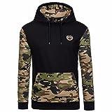 Sannysis Männer Camouflage Mantel Jacke Pullover Sweatshirt Hoodie Langarm Oberbekleidung (XL, Schwarz)