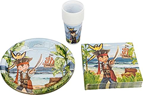 Kigima Party Set Pirate 40 Pieces Cups Paper Plates Napkins