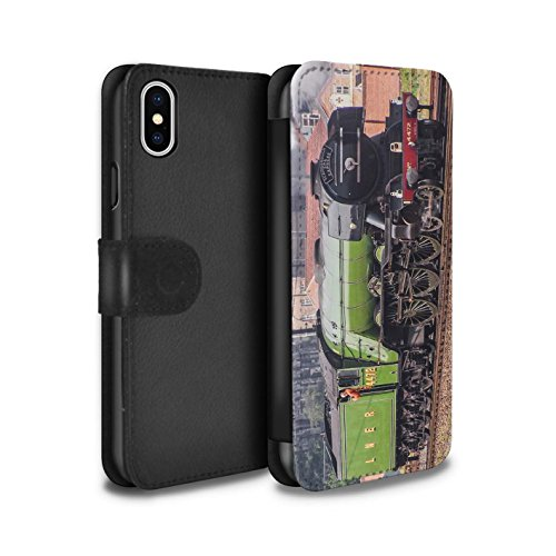 Stuff4 Coque/Etui/Housse Cuir PU Case/Cover pour Apple iPhone X/10 / Sutherland/Rouge Design / Locomotive Vapeur Collection Flying Scotsman