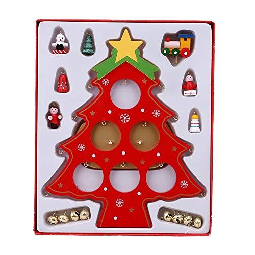chtsbaum aus Holz für Zuhause, Tischdekoration, Party-Ornament für Kinder, Holz, rot ()
