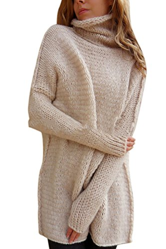Les Femmes Plus Élégante Veste De Tricot Crochet De Manteau Pull Col Roulé Gros Hiver Haut De La Page Pink L