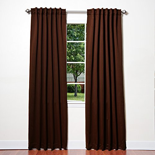 Best Home Fashion Thermal Insulated Blackout Curtains - Back Tab/ Rod Pocket - Chocolate - 52W x 84L - No tie backs (Set of 2 Panels) by Best Home Fashion (Tie-tab-panel)