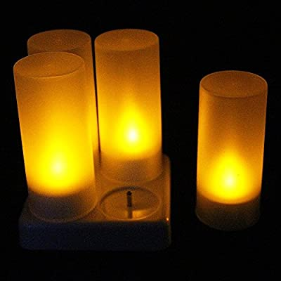 Sayou® Set of 4 Rechargeable Flameless Candles Flickering Tealight Candles with Candle Cover and Base for Party, Festivals, Weddings, Halloween, Christmas Decoration (Yellow) from SAYOU