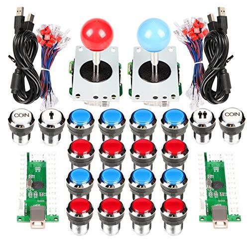 Oem-platine (EG STARTS 2 Spieler Arcade Joystick und Tasten Classic Arcade Contest DIY Retropie Schrank Kits USB-Encoder zu Joystick PC-Spiele + Verchromung LED beleuchtet Taste 1 & 2 Spieler Münze Tasten für Mame)
