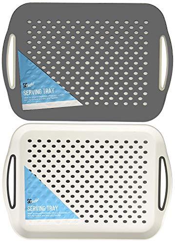 Invero® Set von 2x Anti Rutsch oben und unten Serviertablett aus Kunststoff mit hoher Grip Gummi Oberfläche, gepolsterte rutschfeste Basis und Easy Grip Griffen ideal für alle Häuser