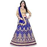 Siddeshwary Fab Women's Net Blue Lehenga Choli With Blouse Piece