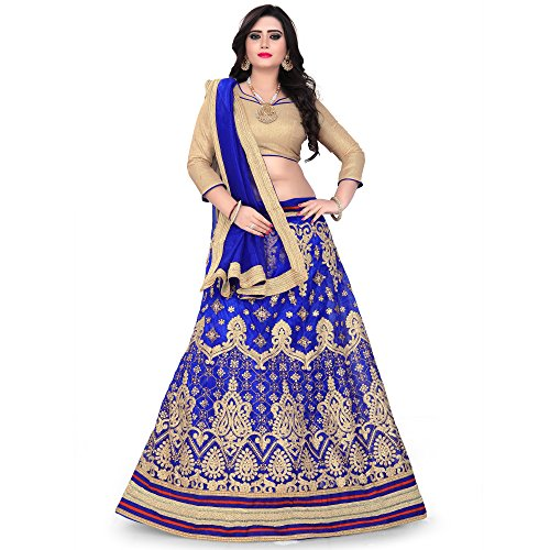 Siddeshwary Fab Women\'s Net Blue Lehenga Choli With Blouse Piece