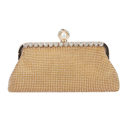 Bonjanvye Evening Bags for Women Soft Formal Clutch Purses and Handbags Gold -