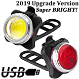 LENDOO LED Bike Lights Set,【UPGRADE VERSION】USB Rechargeable Bicycle Lights, Headlight Taillight Combinations, 650