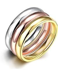 HMILYDYK - Anillos de acero inoxidable chapados en oro para hombre o mujer, 3piezas, un conjunto de boda para la eternidad, tamaño 6-9