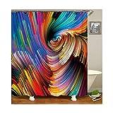 AieniD Duschvorhang Befestigung Ohne Bohren Muster Wirbel Bad Vorhang Größe:165X180MM