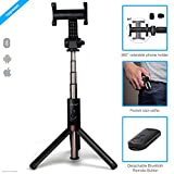 ZAAP® (USA) NUSTAR6 Aluminium Premium Bluetooth Selfie Stick with In-built Tripod | | 10000+ clicks per charge | Universal Compatible For iPhone, Andriod & other Smartphones (Black)
