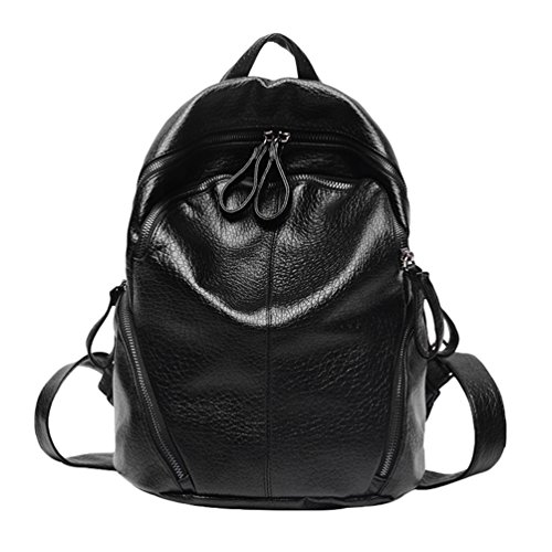 CHENGYANG Donna Casual Zaino PU Pelle Scuola Sacchetti Backpack per Grande Capacita Nero