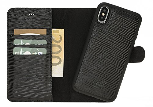 Solo Pelle Iphone X abnehmbare Lederhülle (2in1) inkl. Kartenfächer für das original Iphone X in Epi Schwarz / kabelloses Laden möglich (Schwarz Wallet Prada)