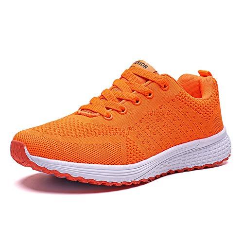 Decai Damen Fitness Laufschuhe Atmungsaktive laufende Turnschuhe Sportschuhe Schnüren Hallenschuhe Leichtathletikschuhe Running Sneaker Gym Schuhe Orange 41 EU
