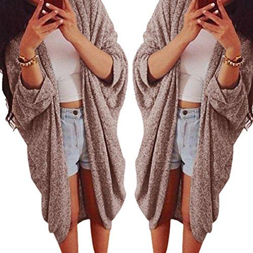 Minetom Sweater Femmes Casual Kimono Cardigan Châles à Manches Chauve Souris Kaki