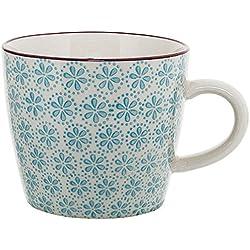 "Bloomingville ""Patrizia"" Tasse mit Henkel handbemalt blau gemustert"