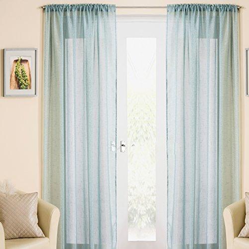 Maple textiles - tenda a pannello in voile, 138 x 228 cm, colore: azzurro/verde con brillantini