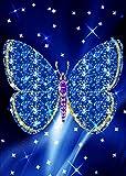 5D DIY Diamond Painting Kit, Blue Flash Butterfly brillant strass Broderie Cross Stitch Arts Artisanat pour décoration murale à la maison 11,8 * 15,7 pouces (30 * 40 cm)