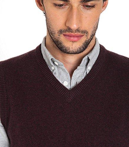 WoolOvers Pull sans manches - Homme - Laine dagneau Deep Burgundy