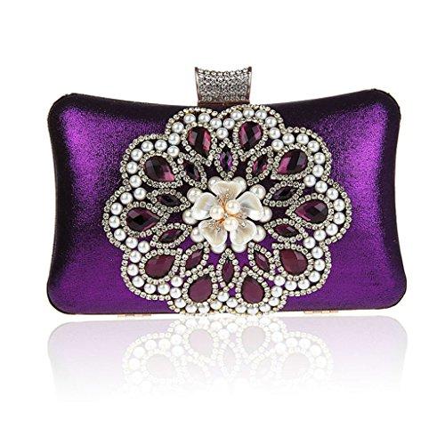 Borsa da donna frizione nuovo modo del vestito da sera di banchetto del sacchetto di diamante fiore in rilievo vestito HASP ( Colore : Silver ) Viola