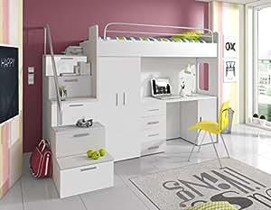 furnistad hochbett f r kinder sky kinderhochbett mit treppe schreibtisch und schrank. Black Bedroom Furniture Sets. Home Design Ideas